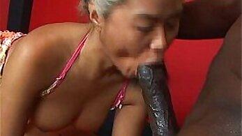 Black cock enters mature Asian chick