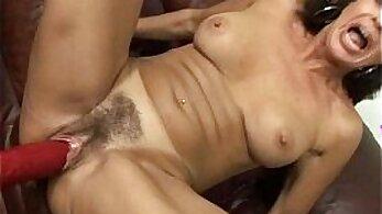 Bigtitted milf stunning brunette loves hard toys