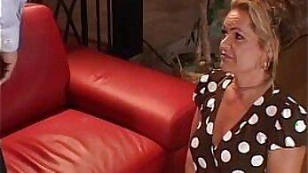 Cute blonde Daphne Sazan takes a hard massive cock right on the sofa