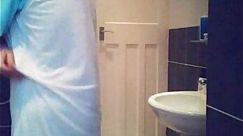 Hidden cam caught my mom fucking in bathroom