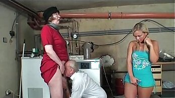 Blond Teen Gives Nice BJ And Sucks Granny
