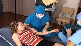 Auburn busty nurse and her patient fucked by stiff penis