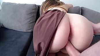 Babe receives strapon from stranger and pounded in his ass