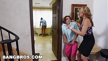Latina Stepmom Introduces Stepson In Her Threesome