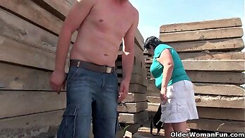 Outdoor Puss play with man nipples The Delivery Service