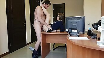 Blonde milf secretary in the office got caught and fucked by unknown folks