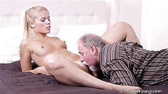 Cute and curvy stunner Young Bae rides white dick