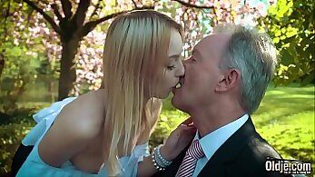 Blonde swallows cum after a young online excitement
