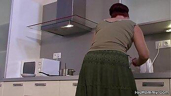 Teen hottie enjoys kitchen lesbian