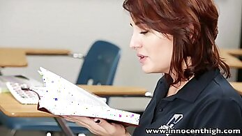 Cute brunette student is caught sitting on her teachers dick