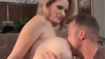 Blonde milf with huge tits is getting fucked by her lover